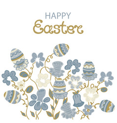 happy easter card with flowers and paschal eggs vector image vector image