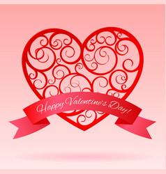 red decorative paper hearts with banner vector image