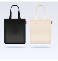White and black fabric cloth tote bags vector