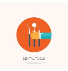 with hand and dental tools vector image