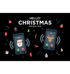 Christmas Greeting Card with phone call from Santa vector image vector image