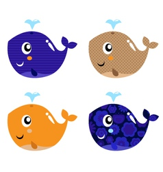 Cute abstract whale vector image