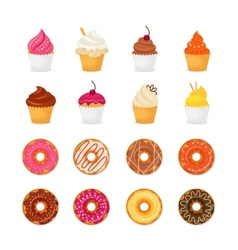 Donut cupcake icon vector image vector image