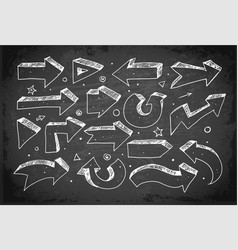 doodle sketch arrows hand drawn with white chalks vector image