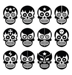 Lucha libre - mexican sugar skull masks black icon vector