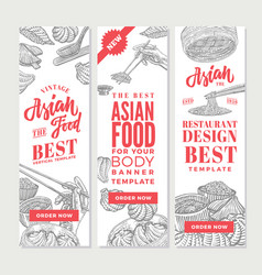 sketch asian food vertical banners vector image