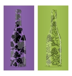 Bottle with grapevine vector