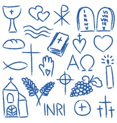 Christian doodles symbol set vector