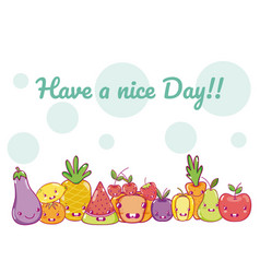 Have a nice day card with food cartoons vector