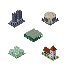 isometric urban set of tower clinic chapel and vector image vector image