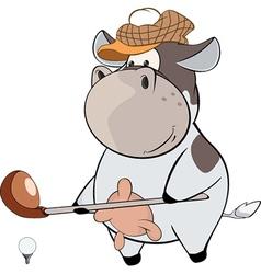 little golfer cow Cartoon vector image