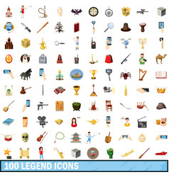 100 legend icons set cartoon style vector