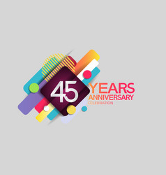 45 years anniversary colorful design with circle vector