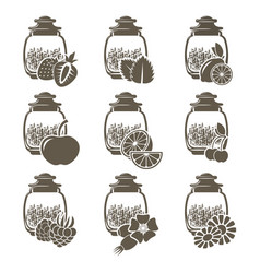 a set of 9 glass jars of weight tea with different vector image