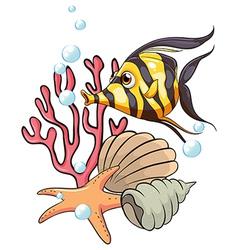 A stripe-colored fish under the sea vector image