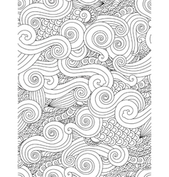 Abstract hand drawn outline wave curl seamless vector