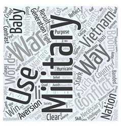 An Aversion to War Word Cloud Concept vector image