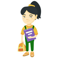 Asian pupil with backpack and textbook vector