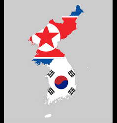 Background of north and south korea map and flag vector