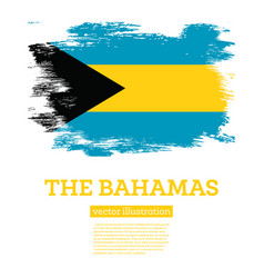 bahamas flag with brush strokes independence vector image