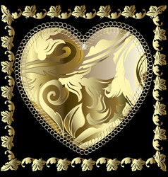 baroque 3d love heart pattern ornamental gold vector image
