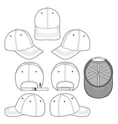 Baseball cap technical drawing flat sketches templ vector