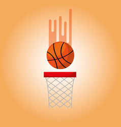 Basketball hoop and ball blurred color background vector