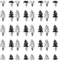 black and white seamless christmas pattern - vector image