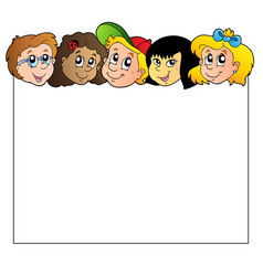 blank frame with children faces vector image