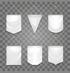 Blank white pennant set vector