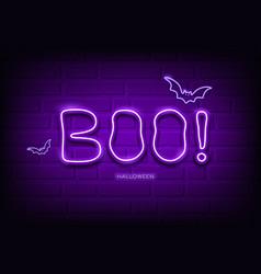 boo message and bat neon light purple vector image