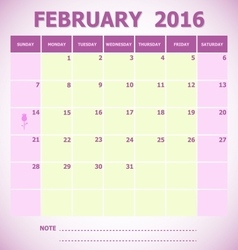 Calendar February 2016 week starts Sunday vector
