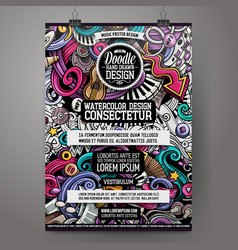 Cartoon hand drawn doodles music poster design vector