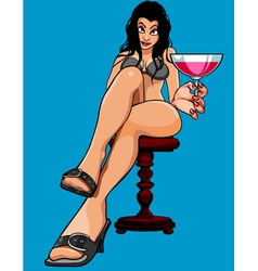 cartoon sexy woman sitting with a glass vector image