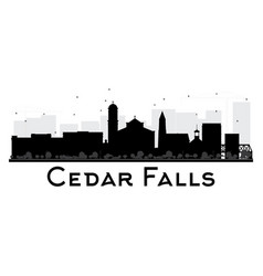 cedar falls iowa skyline black and white vector image