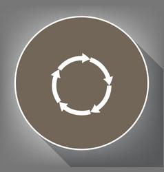 circular arrows sign white icon on brown vector image