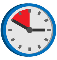 clock with red area time remaining until end of vector image
