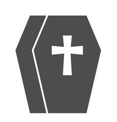 Coffin solid icon cemetery box with a cross sign vector