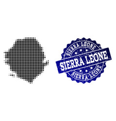 Collage of halftone dotted map of sierra leone and vector