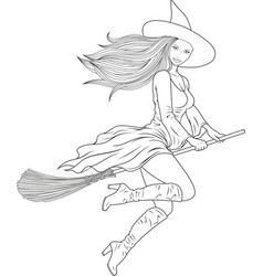 coloring beautiful witch vector image