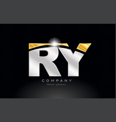 Combination letter ry r y alphabet with gold vector