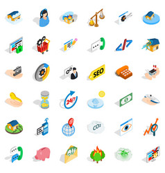 Contact us icons set isometric style vector