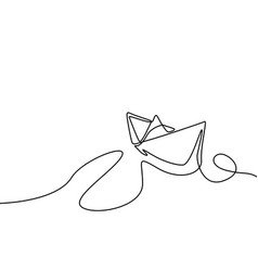 continuous one line drawing paper ship vector image