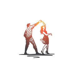couple dancing partner music party concept vector image