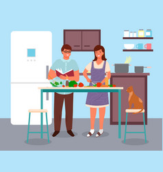 couple man and woman characters preparing food vector image