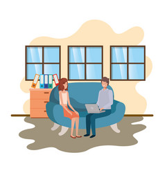 couple using laptop in office work vector image