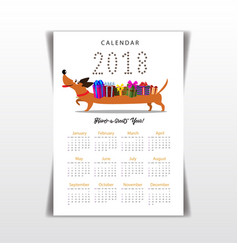 Creative calendar 2018 with cute cartoon vector