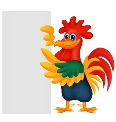 Cute rooster cartoon and blank sign vector image