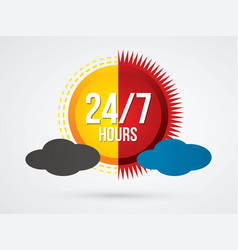 Day and night 24 hours service icon graphic vector