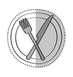 dish with knife and fork kitchen cutlery isolated vector image